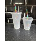 Colour Changing Confetti Cup With Rainbow Straw